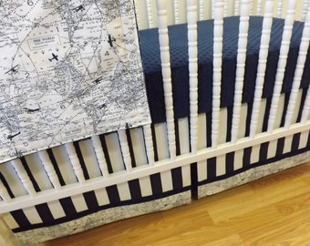 Aviation Crib Bedding- Boy BUMPERLESS Baby Bedding-  MADE to ORDER-  Boy Bedding- Air Traffic- Airplane Bedding