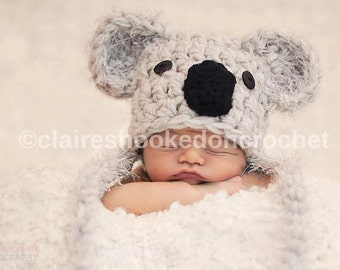 Koala hat. Crochet baby hat, newborn, baby child size, made to order,  photography prop or great gift.