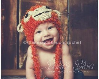Orangutan Monkey hat, cute hand crochet beanie, baby photography prop, or gift