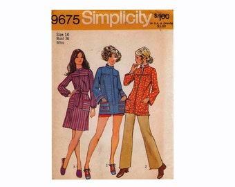 1970s 70 Smock Top and Dress House Dress Front  Zipper Size 14 bust 36 Simplicity 9675 Misses UNCUT Sewing Pattern