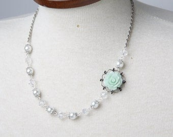 Mint Bridesmaid  necklace, Mint Rose Necklace, Mint wedding jewelry, pearl and crystal necklace, Mint Bridal Necklace, maid of honor gift