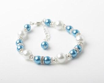 flower girl bracelet, malibu blue wedding jewelry, girl bracelet, Ocean Blue and White pearl bracelet, junior bridesmaid jewelry, gift