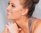 Pearl Drop Wedding Earrings, Cubic Zirconia Bridal Earrings, Simple Pearl Drop Bridal Earrings, Mother of the Bride