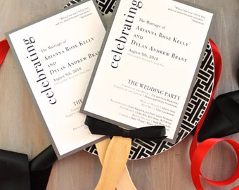 Modern Wedding Ceremony Fan Programs - Urban Elegance - Deposit