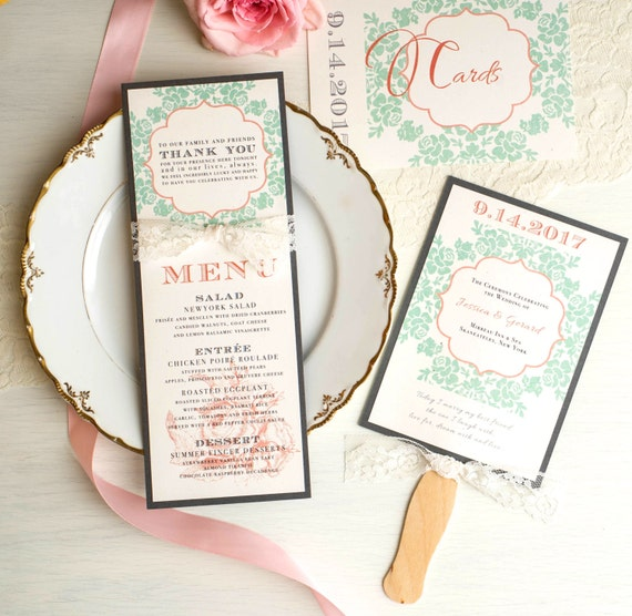 Wedding menu cards personalized place cards vintage wedding for Personalized wedding place cards