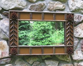 Twig and Pine Cone Mirror  in Raw Sienna Crackle Finish