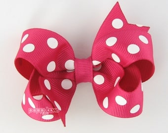 Girls Hair Bow - pink hair bow - girls hair bows - shocking pink polka dot bow - baby hair bows - 3 inch bows - toddler hair bow - boutique