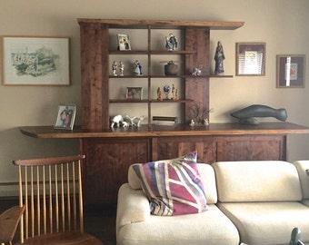 Natural edge walnut storage cabinet