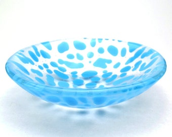 "Fused Glass ""Puddles"" Bowl Blue on Clear"