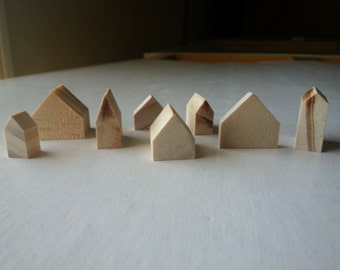 10 mixed sizes small natural wooden houses | pine wood houses | little houses | miniature houses | cottages | doll house decor | tiny houses