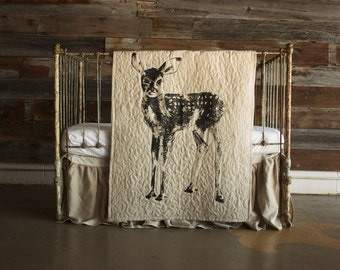 Standing Fawn - baby/toddler quilt, with optional 100% linen ruffle crib skirt