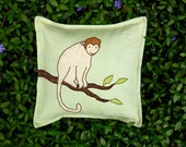 "Monkey Pillow - 14"" Linen Throw Pillow - Pale Green Linen Background"