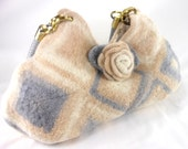 Felted Wool Hand Bag Purse Shades of Cream, Tan and Gray   Fiber Art Granny Square Handbag crochet purse removeable Rose Brooch by LJD