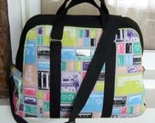 Oversized Handbag / Overnight Carry-on Bag / 1980s Retro Cassette Tapes / Swoon Patterns Vivian