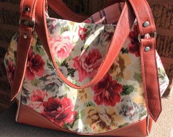 Large Tote Bag Handbag / Ikat Shoulder Bag / Genuine Rustic Leather / Swoon Patterns Charlotte City Tote