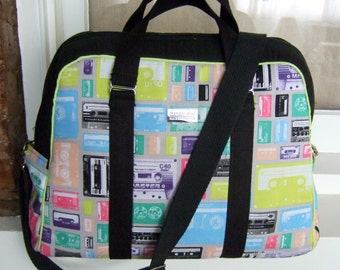 Oversized Handbag / Overnight Carry-on Bag / 1980s Retro Cassette Tapes / Swoon Patterns Vivian