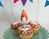 Mini Birthday Bird with Bunting : Orange - MADE TO ORDER!