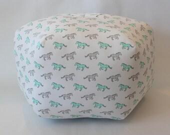 "Ready to ship - 24"" Pouf Ottoman Floor Pillow Mint Mustangs"