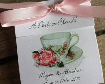 Coral Wedding Tea Favors - Pretty in Pink Rose Teacup - A Classy Personalized Tea Bag Favor