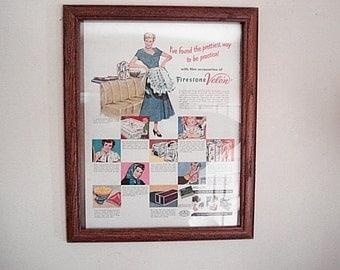 Firestone Velon,Firestone Ad, Firestone, Fashion Ad, Velon Ad, Accessories Ad, Illustration, Vintage Advertising, Wall Art Decor,Display Ad