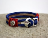 nautical rope and leather bracelet ,steering wheel bracelet, sail rope,anchor clasp,maritime anchor bracelet,nautical gift