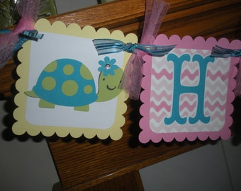 Sea Creatures, Turtle, Crab, Sea Horse Birthday Banner, Ocean Beach Birthday Banner, Matching Tissue Poms Available