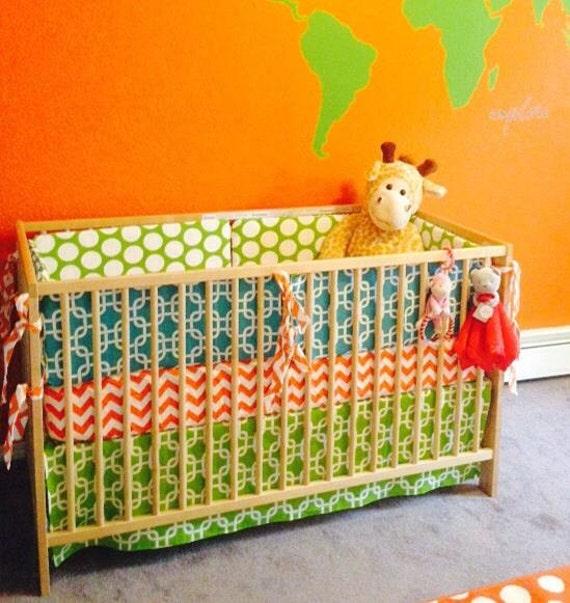 Teal Chevron Baby Bedding Orange Chevron by SewInLoveWithBaby