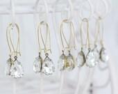 Clear Crystal Bridesmaids Dangle Earrings -Estate Style Earrings - Pear Tear Drop Earrings -Bridesmaid Earrings -Bridesmaid Gift -Rhinestone