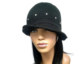 PATTERN ONLY Another Easy Crochet Cloche/Flapper Hat Silver Stud instructions included Instant Download