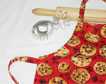 Chocolate Chip Cookies Child Apron - red