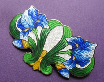 Art Nouveau Sterling Silver And Enamel Cloisonne Iris Brooch Antique Pin