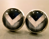 Blue Chevron Studs: Antique Chevron Glass Cabochon Earrings, Tribal, Native, Summer, Arrowhead, Antique Finish