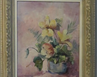 Vintage Framed Painting of Flowers Signed by Artist M.A. Sullivan    shd