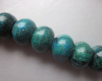 Yellow Blue Turquoise Beads 18x12mm 12 Beads