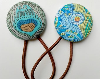 Peacock Pair of Liberty of London Ponytail Holders - Beautiful Blues Fabric Covered Button Hair Ties