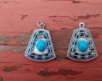 Two Vintage Turquoise Colored Stone Pendants