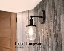 Sconce Lighting with Clear Jar Glass Shade