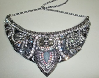 Statement Bib Necklace Fabulous Rhinestones Deco Vintage Elements