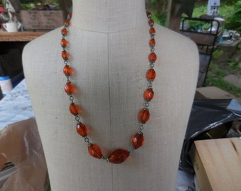 Vintage 1930s to 1940s Orange Faceted Glass Necklace Long Gold Tone Graduated