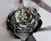 Bridal wedding corsage in gray silver and black, Bridesmaids flower corsage, wrist corsage, fabric flower wedding accessory