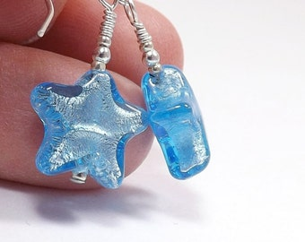 Murano Glass Star Earrings, 3/4 inch (2cm) Drops, Italian Aquamarine Glass Around Silver Foil Small Star Dangles, Mini Earrings