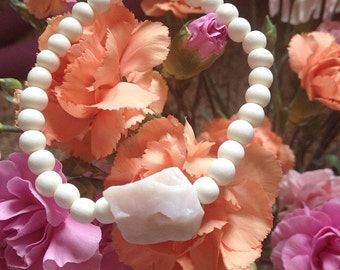 Pink, Peruvian opal, natural, gemstone, bracelet, one size fits most, stretch, free form, white wood, statement, stacking- Subtle Strength
