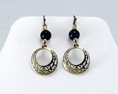 Lapis Lazuli Earrings with Dangle.  Gemstone Earrings.  Artsy.