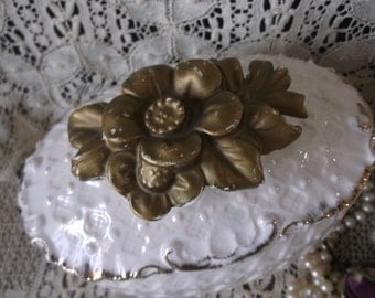 Vintage Covered trinket dish, Ceramic white with gold rose, Victorian storage dish