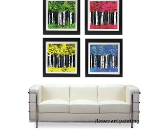 Abstract Print Giclee, 4 seasons art print, 4 seasons painting,office lobby print,art on canvas, red blue green art, seasons art, huge print