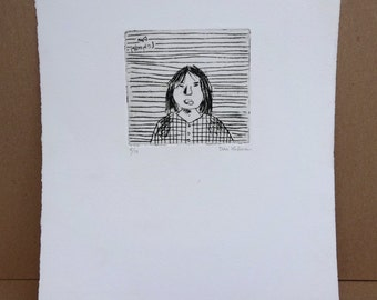Vintage Original Black and White Etching Self Portrait by artist Don Lehman