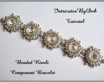 PDF Tutorial Beaded Rivoli Motif Bracelet - Jewelry Beading Pattern, Beadweaving Instructions, Do It Yourself, How To