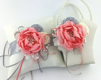 Flower Girl Basket and Ring Pillow - Handmade Satin Coral, Ivory and Silver Flower and Roses - Embellished with Crystal & Pearls
