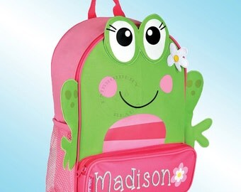 Backpack - Personalized and Embroidered - Sidekick Backpack - GIRLY FROG