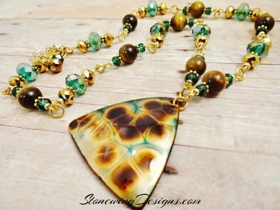 Enamel, Tiger's Eye and Green Quartz Necklace